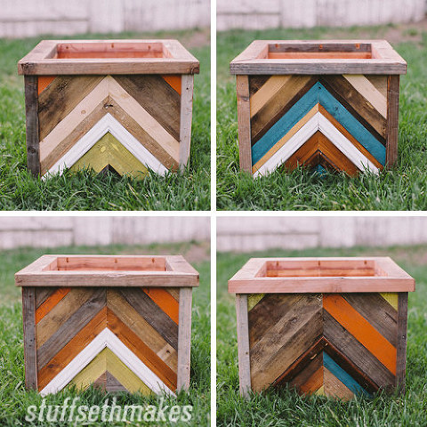 The Original Recycled Wood Chevron Planter Box Stuff Seth Makes