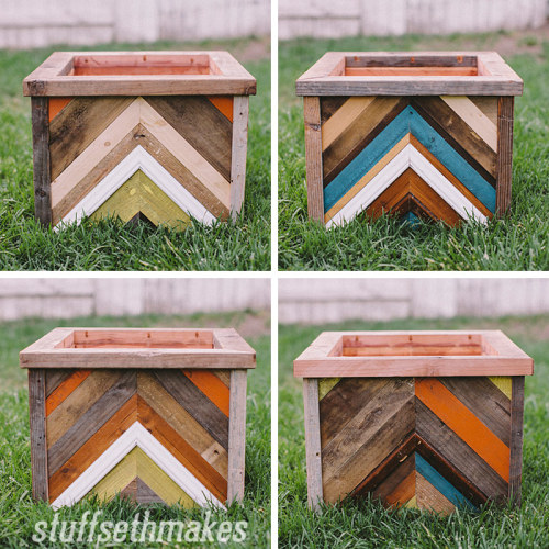 The original recycled wood chevron planter box stuff Reusable wood