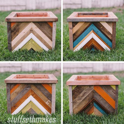 The Original Recycled Wood Chevron Planter Box Stuff