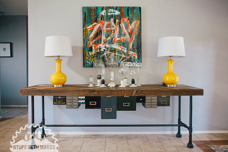 anthropologie-inspired-recycled-wood-chevron-industrial-console-table