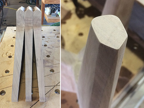 tapered-table-legs-black-walnut-45-degree-chamfer-freud-router-bits-woodworking