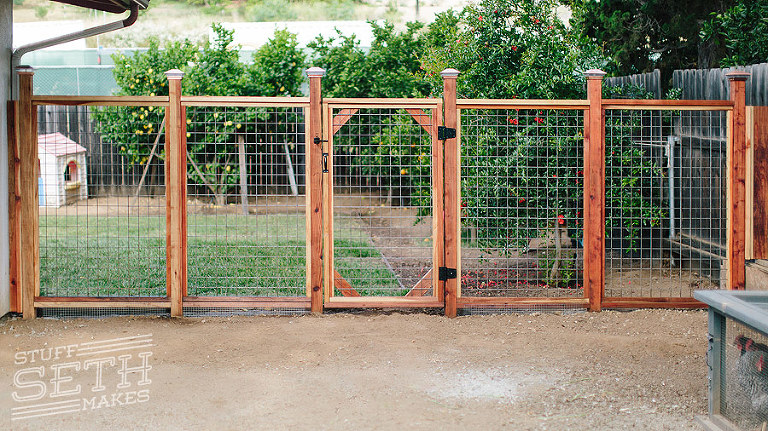Redwood Fence With Hogwire Mesh » Stuff Seth Makes