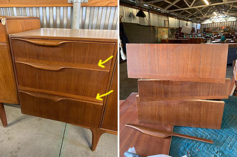 Repairing Teak Veneer On Mid Century, How To Fix Veneer On Antique Furniture